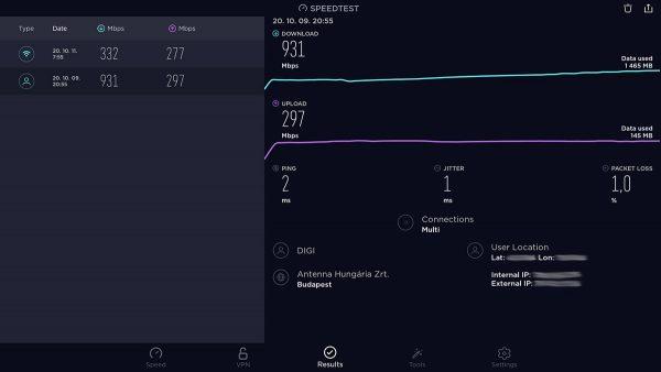 Speedtest eredmények vezetéken és WiFi-n