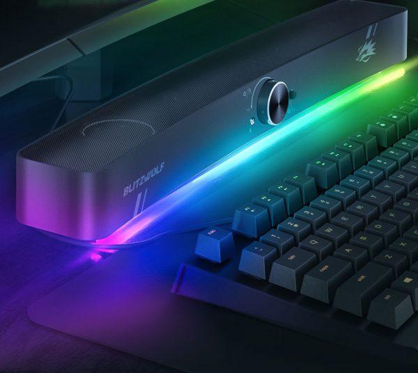 A BlitzWolf BW-GS3 Gamer PC hangszóró világítása