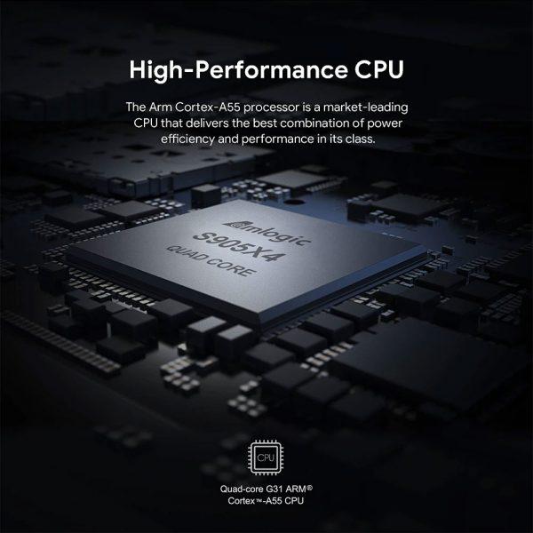 A legújabb Amlogic S905X4 CPU gondoskodik a jó sebességről