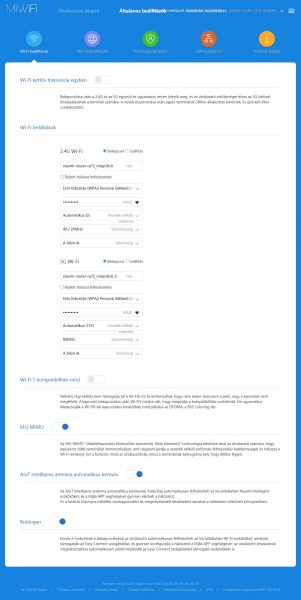 A Xiaomi AX6000 részletes WiFi beállításai