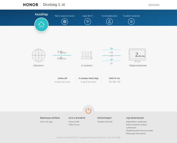 A Honor router 3 webfelülete