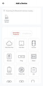 SwitchBot eszköz hozzáadása képernyő